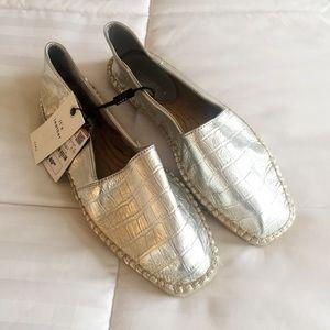 Zara Silver Metallic Espadrille Size 9